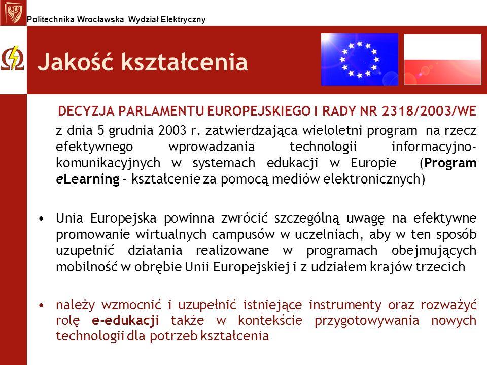 Politechnika Wrocławska Wydział Elektryczny Jakość kształcenia DECYZJA PARLAMENTU EUROPEJSKIEGO I RADY NR 2318/2003/WE z dnia 5 grudnia 2003 r. zatwie