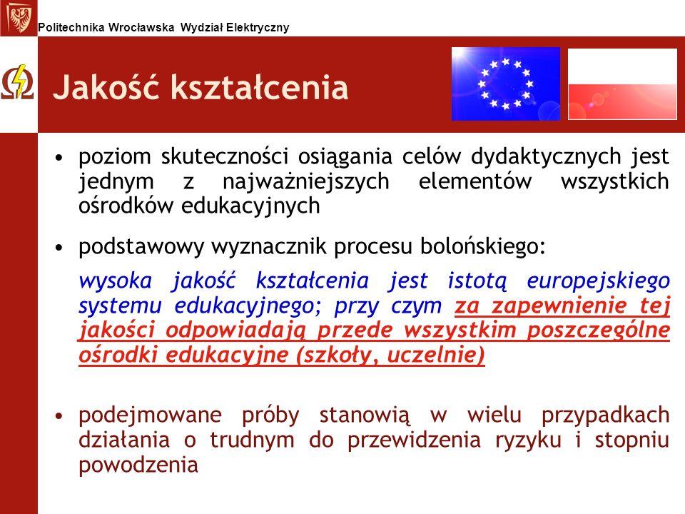 Politechnika Wrocławska Wydział Elektryczny Jakość kształcenia poziom skuteczności osiągania celów dydaktycznych jest jednym z najważniejszych element