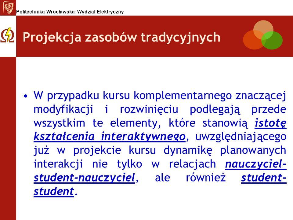 Politechnika Wrocławska Wydział Elektryczny Projekcja zasobów tradycyjnych W przypadku kursu komplementarnego znaczącej modyfikacji i rozwinięciu podl