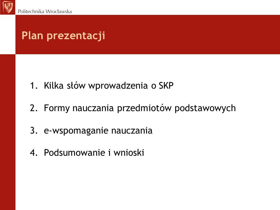 Plan prezentacji 1.Kilka słów wprowadzenia o SKP 2.Formy nauczania przedmiotów podstawowych 3.e-wspomaganie nauczania 4.Podsumowanie i wnioski