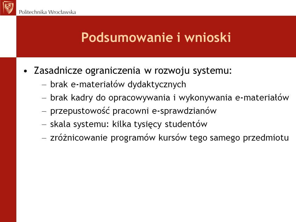 Podsumowanie i wnioski Zasadnicze ograniczenia w rozwoju systemu: brak e-materiałów dydaktycznych brak kadry do opracowywania i wykonywania e-materiał