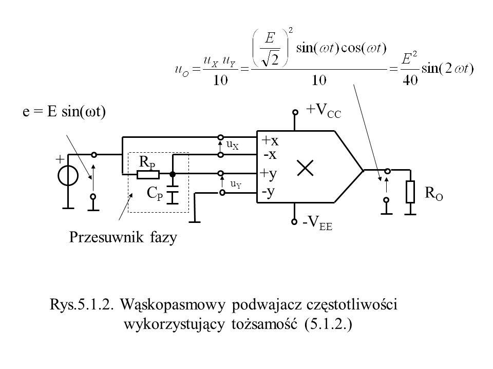 uXuX uYuY +V CC -V EE e = E sin(ωt) RORO Rys.5.1.2. Wąskopasmowy podwajacz częstotliwości wykorzystujący tożsamość (5.1.2.) +x -x +y -y + RPRP CPCP Pr