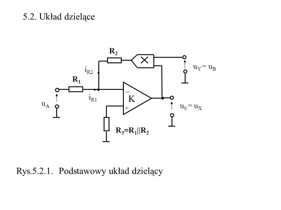5.2. Układ dzielące K uAuA u 0 = u X + R1R1 _ u Y = u B Rys.5.2.1. Podstawowy układ dzielący R2R2 R 3 =R 1 ||R 2 i R1 i R2
