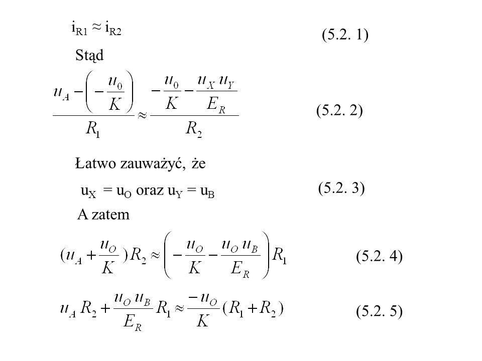 i R1 i R2 u X = u O oraz u Y = u B Stąd Łatwo zauważyć, że A zatem (5.2. 1) (5.2. 2) (5.2. 3) (5.2. 4) (5.2. 5)