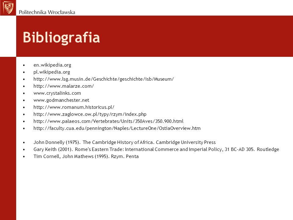 Bibliografia en.wikipedia.org pl.wikipedia.org http://www.lsg.musin.de/Geschichte/geschichte/isb/Museum/ http://www.malarze.com/ www.crystalinks.com w