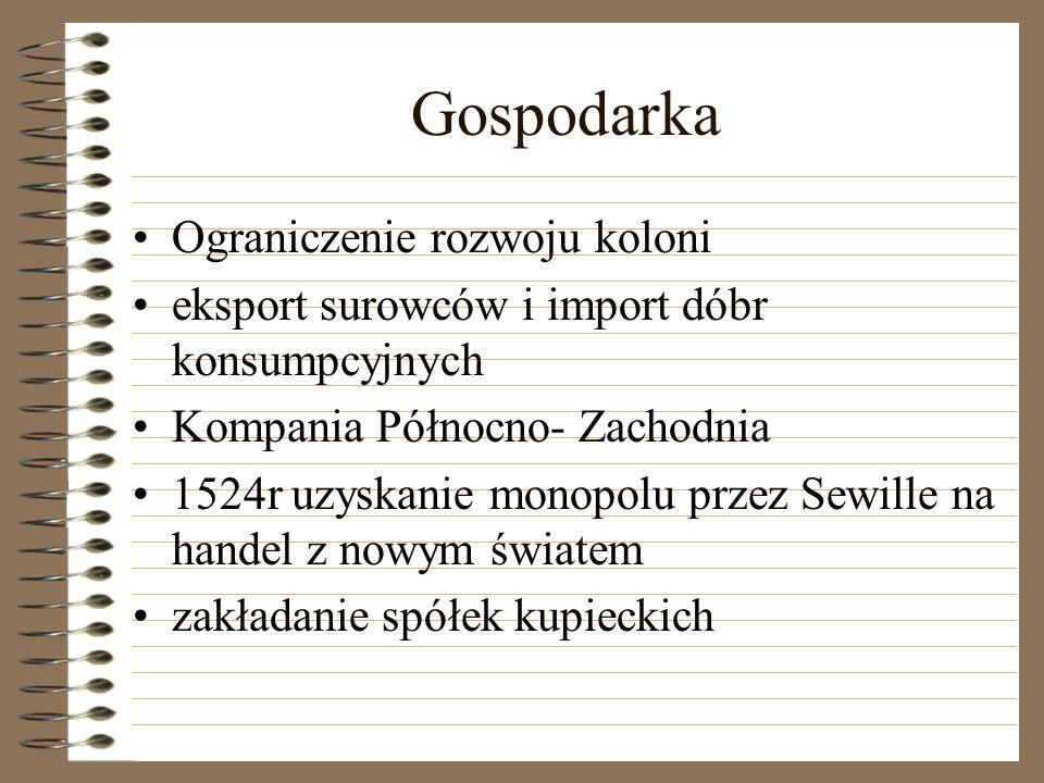 Gospodarka Ograniczenie rozwoju koloni eksport surowców i import dóbr konsumpcyjnych Kompania Północno- Zachodnia 1524r uzyskanie monopolu przez Sewil