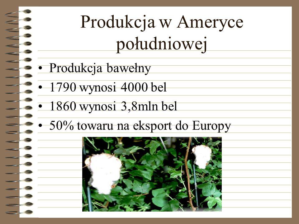 Produkcja w Ameryce południowej Produkcja bawełny 1790 wynosi 4000 bel 1860 wynosi 3,8mln bel 50% towaru na eksport do Europy