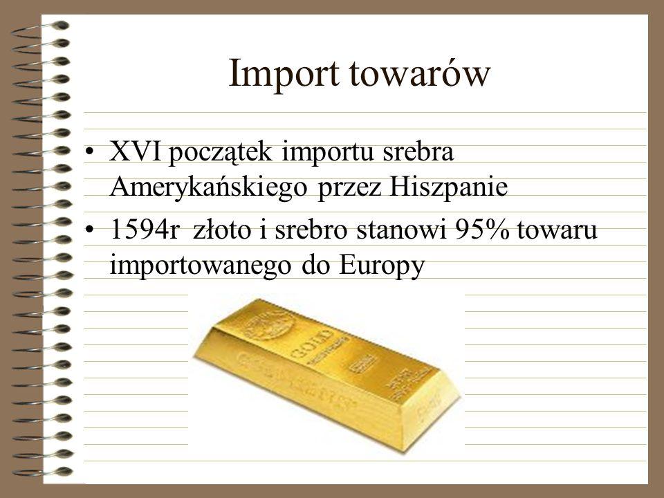 Import towarów XVI początek importu srebra Amerykańskiego przez Hiszpanie 1594r złoto i srebro stanowi 95% towaru importowanego do Europy