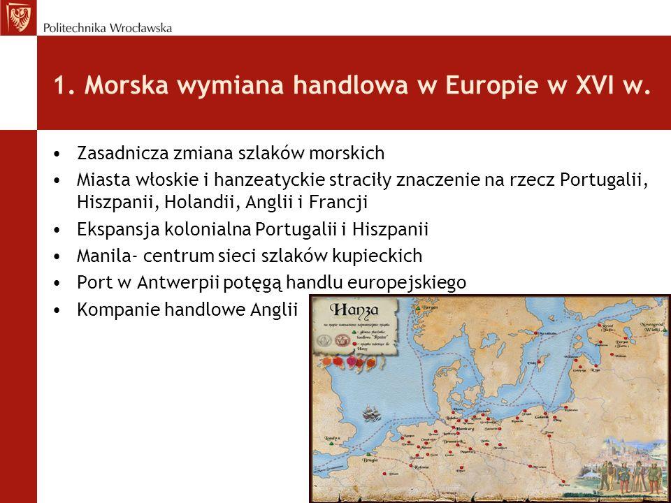 1. Morska wymiana handlowa w Europie w XVI w. Zasadnicza zmiana szlaków morskich Miasta włoskie i hanzeatyckie straciły znaczenie na rzecz Portugalii,