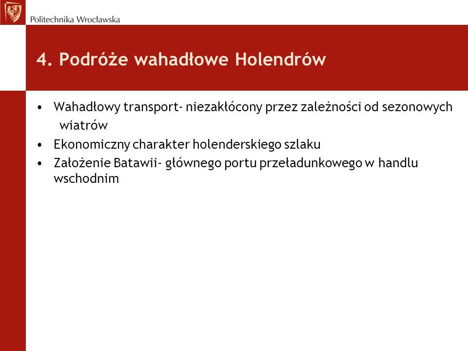 4. Podróże wahadłowe Holendrów Wahadłowy transport- niezakłócony przez zależności od sezonowych wiatrów Ekonomiczny charakter holenderskiego szlaku Za