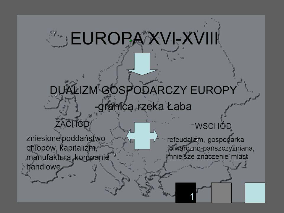 EUROPA XVI-XVIII DUALIZM GOSPODARCZY EUROPY -granica rzeka Łaba ZACHÓD zniesione poddaństwo chłopów, kapitalizm, manufaktura, kompanie handlowe WSCHÓD