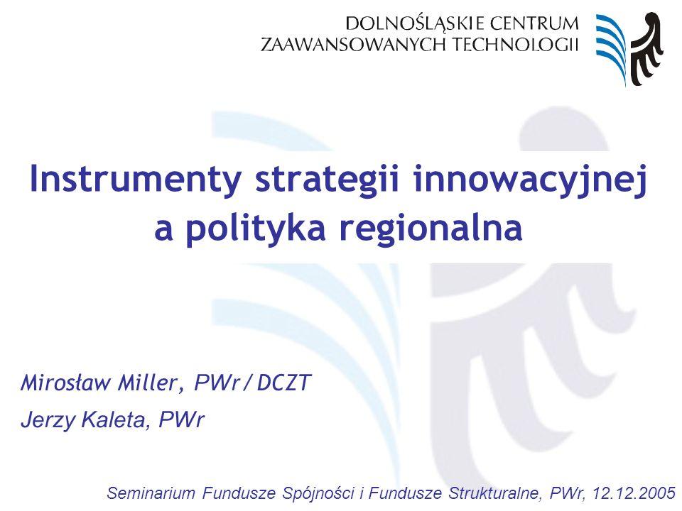 Seminarium Fundusze Spójności i Fundusze Strukturalne, PWr, 12.12.2005 Zagadnienia Regionalna Strategia Innowacji Szanse Regionu w obszarze innowacji i nowych technologii Instrumenty wzmacniania powiązań nauki i gospodarki Dolnośląskie Centrum Zaawansowanych Technologii Dolnośląskie Centrum Studiów Regionalnych Inicjatywy ponadregionalne (Saksonia)