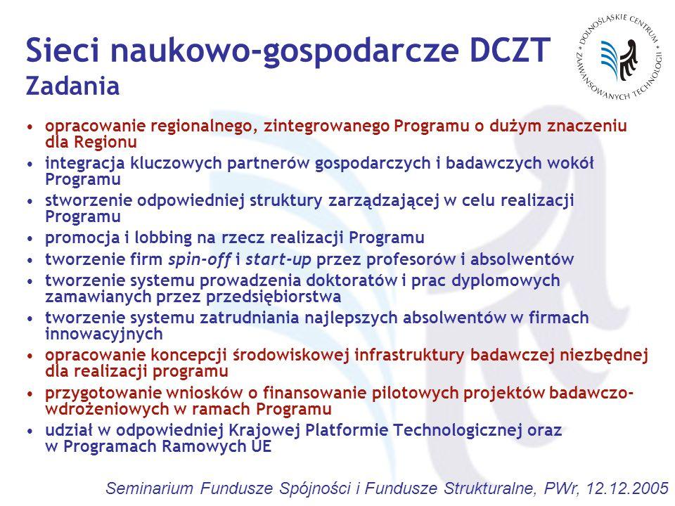 Seminarium Fundusze Spójności i Fundusze Strukturalne, PWr, 12.12.2005 opracowanie regionalnego, zintegrowanego Programu o dużym znaczeniu dla Regionu