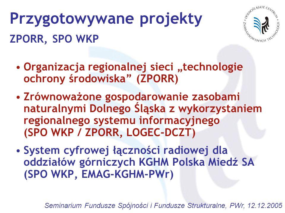Seminarium Fundusze Spójności i Fundusze Strukturalne, PWr, 12.12.2005 Przygotowywane projekty ZPORR, SPO WKP Organizacja regionalnej sieci technologi