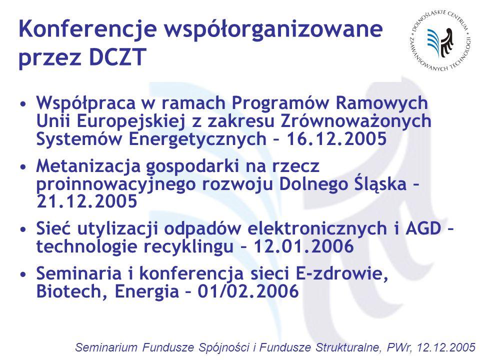 Seminarium Fundusze Spójności i Fundusze Strukturalne, PWr, 12.12.2005 Konferencje współorganizowane przez DCZT Współpraca w ramach Programów Ramowych