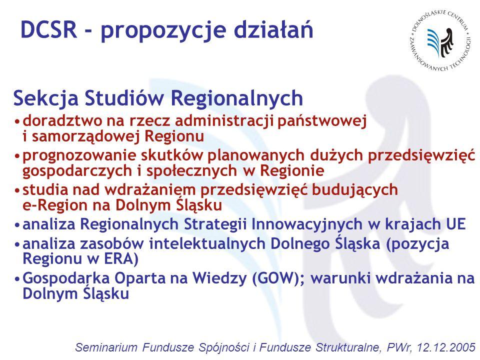 Seminarium Fundusze Spójności i Fundusze Strukturalne, PWr, 12.12.2005 DCSR - propozycje działań Sekcja Studiów Regionalnych doradztwo na rzecz admini