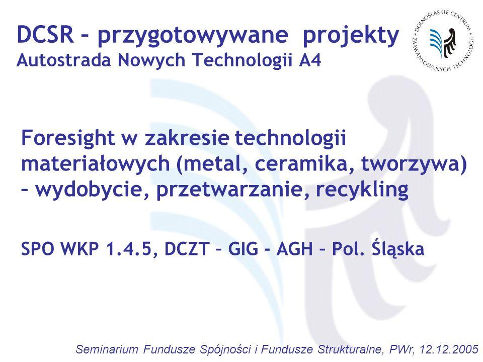 Seminarium Fundusze Spójności i Fundusze Strukturalne, PWr, 12.12.2005 Foresight w zakresie technologii materiałowych (metal, ceramika, tworzywa) – wy