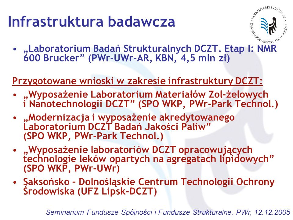 Seminarium Fundusze Spójności i Fundusze Strukturalne, PWr, 12.12.2005 Infrastruktura badawcza Laboratorium Badań Strukturalnych DCZT. Etap I: NMR 600