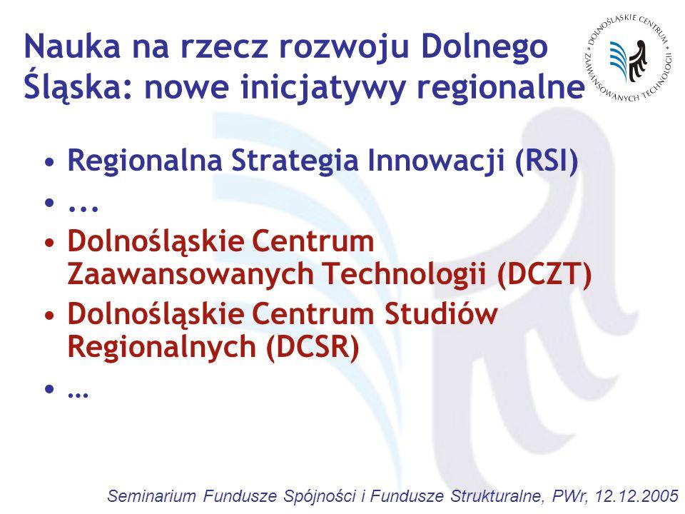 Seminarium Fundusze Spójności i Fundusze Strukturalne, PWr, 12.12.2005 Nauka na rzecz rozwoju Dolnego Śląska: nowe inicjatywy regionalne Regionalna St