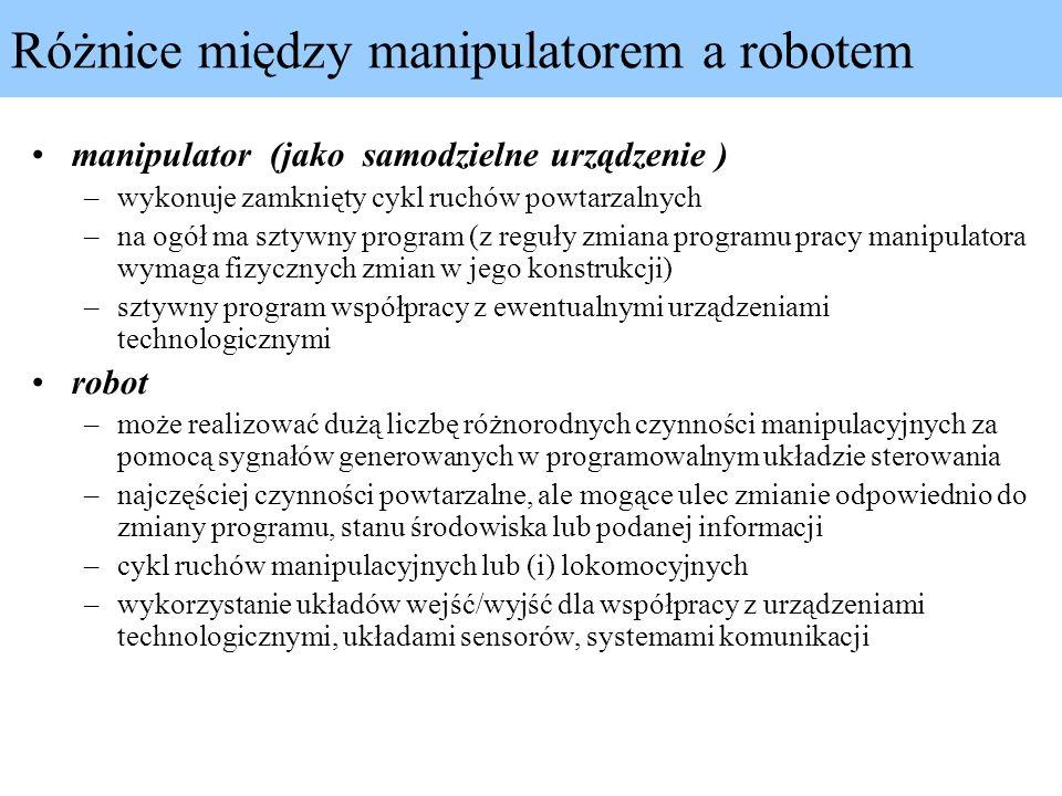 Różnice między manipulatorem a robotem manipulator (jako samodzielne urządzenie ) –wykonuje zamknięty cykl ruchów powtarzalnych –na ogół ma sztywny pr