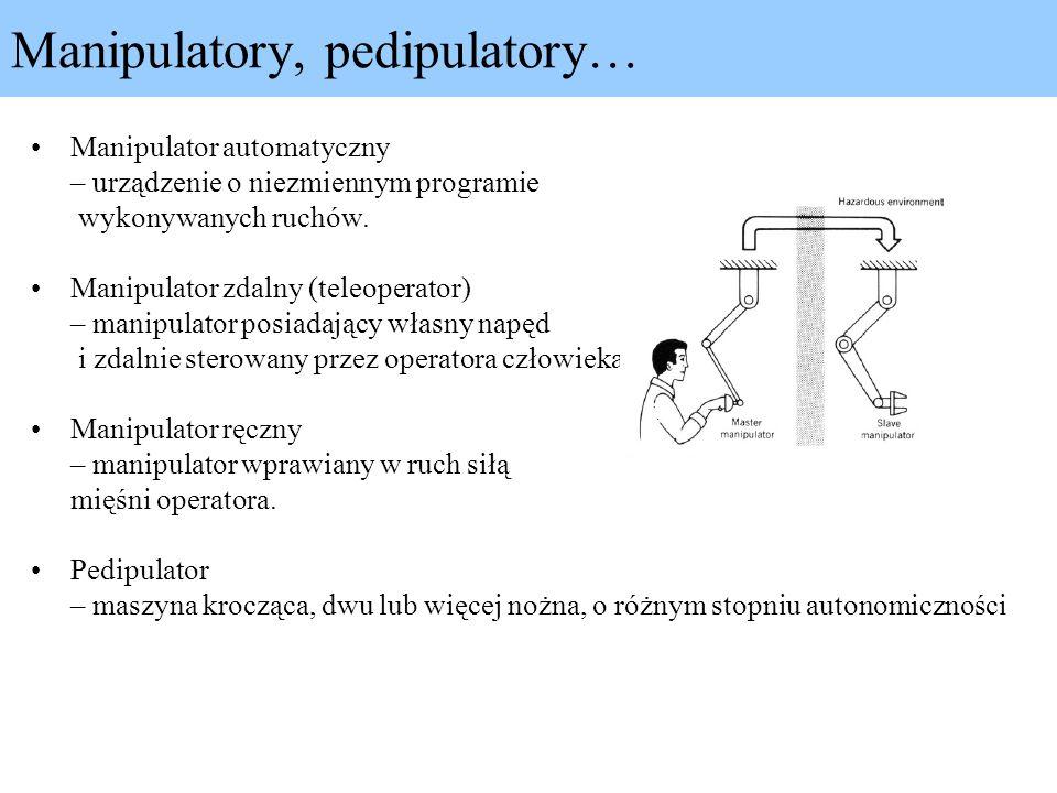 Manipulatory, pedipulatory… Manipulator automatyczny – urządzenie o niezmiennym programie wykonywanych ruchów. Manipulator zdalny (teleoperator) – man