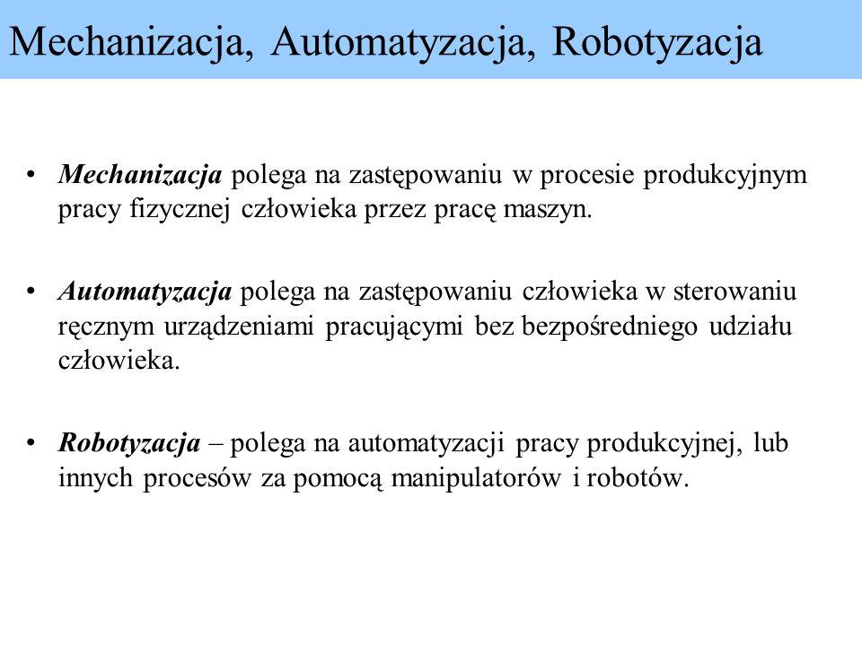 Mechanizacja, Automatyzacja, Robotyzacja Mechanizacja polega na zastępowaniu w procesie produkcyjnym pracy fizycznej człowieka przez pracę maszyn. Aut