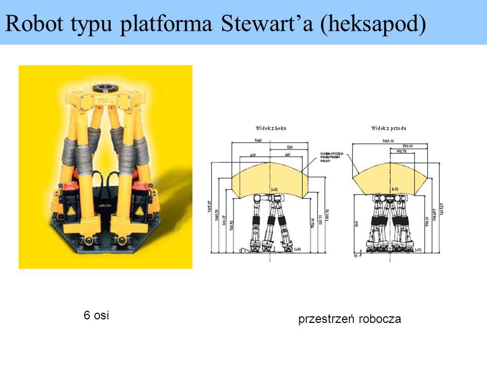 Robot typu platforma Stewarta (heksapod) 6 osi przestrzeń robocza