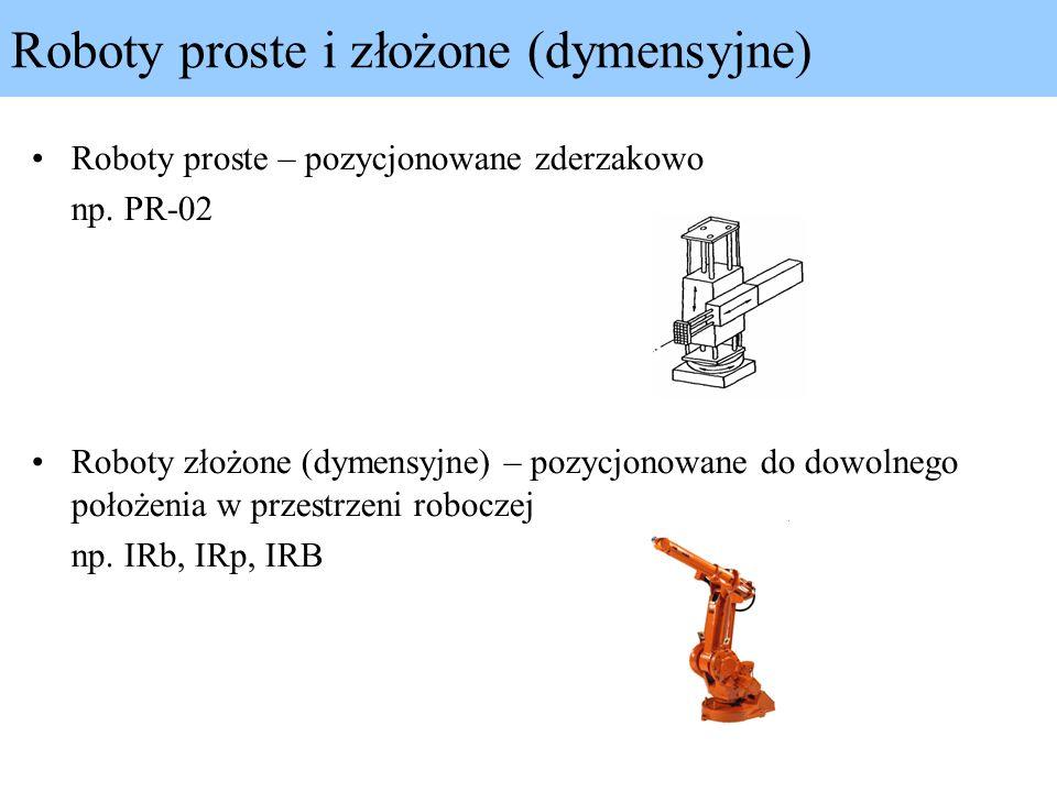 Roboty proste – pozycjonowane zderzakowo np. PR-02 Roboty złożone (dymensyjne) – pozycjonowane do dowolnego położenia w przestrzeni roboczej np. IRb,