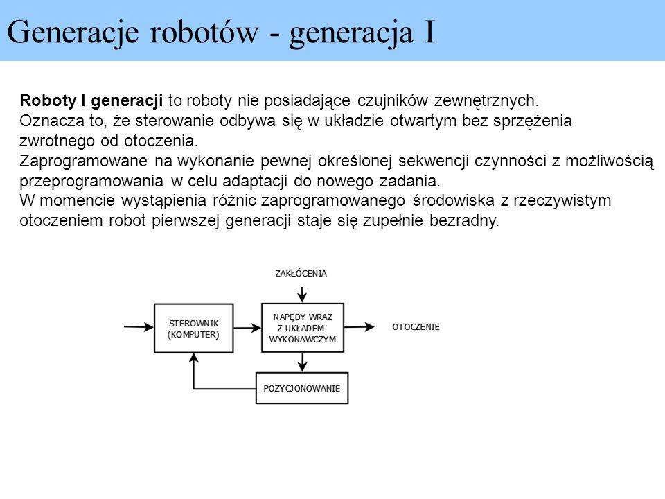 Generacje robotów - generacja I Roboty I generacji to roboty nie posiadające czujników zewnętrznych. Oznacza to, że sterowanie odbywa się w układzie o
