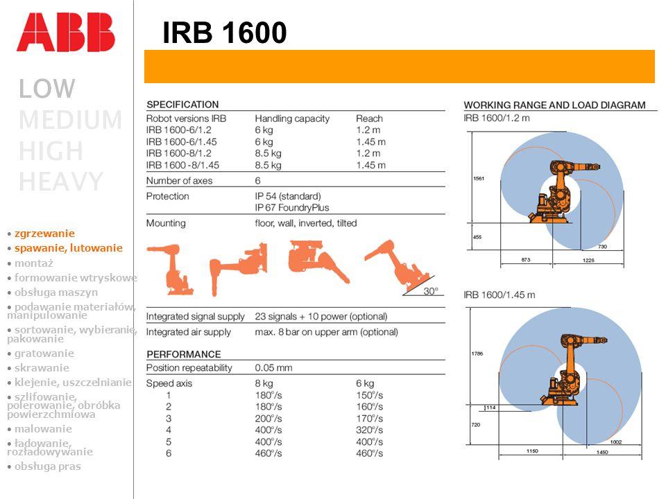 LOW MEDIUM HIGH HEAVY IRB 1600 zgrzewanie spawanie, lutowanie montaż formowanie wtryskowe obsługa maszyn podawanie materiałów, manipulowanie sortowani