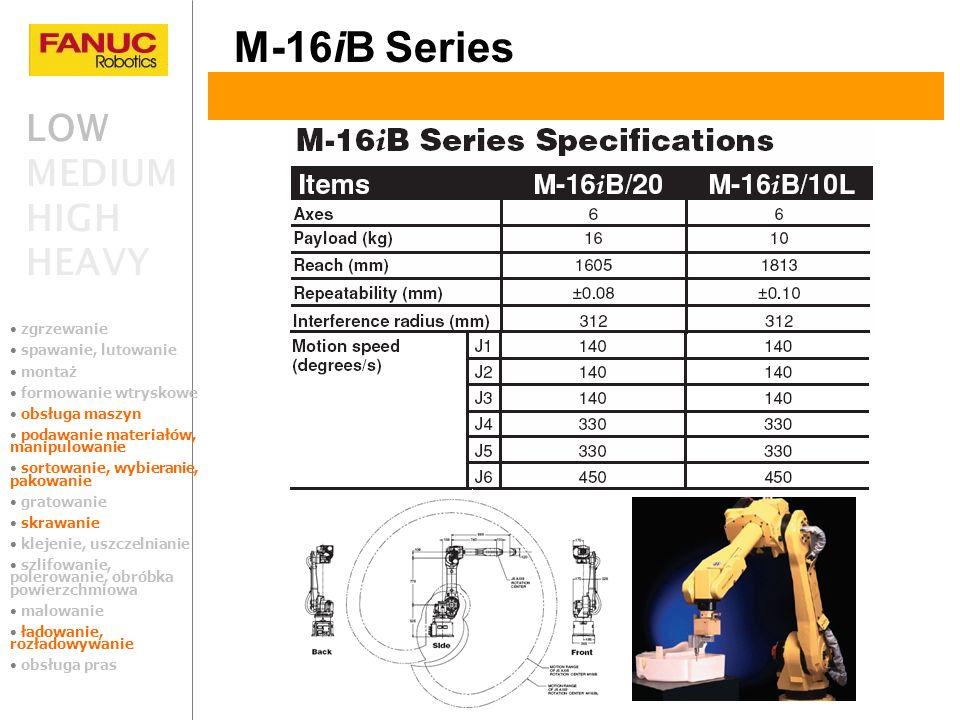 LOW MEDIUM HIGH HEAVY M-16iB Series zgrzewanie spawanie, lutowanie montaż formowanie wtryskowe obsługa maszyn podawanie materiałów, manipulowanie sort