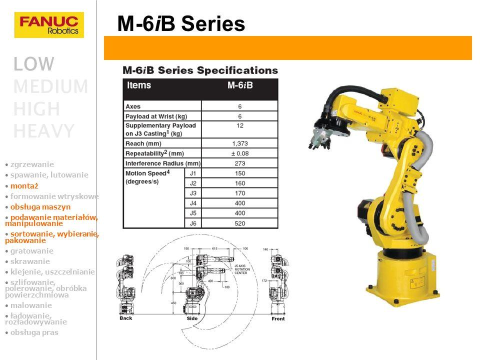LOW MEDIUM HIGH HEAVY M-6iB Series zgrzewanie spawanie, lutowanie montaż formowanie wtryskowe obsługa maszyn podawanie materiałów, manipulowanie sorto