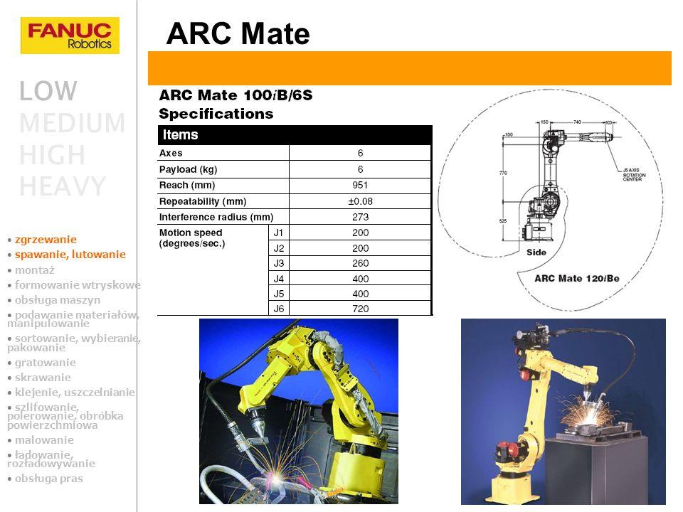 LOW MEDIUM HIGH HEAVY ARC Mate zgrzewanie spawanie, lutowanie montaż formowanie wtryskowe obsługa maszyn podawanie materiałów, manipulowanie sortowani