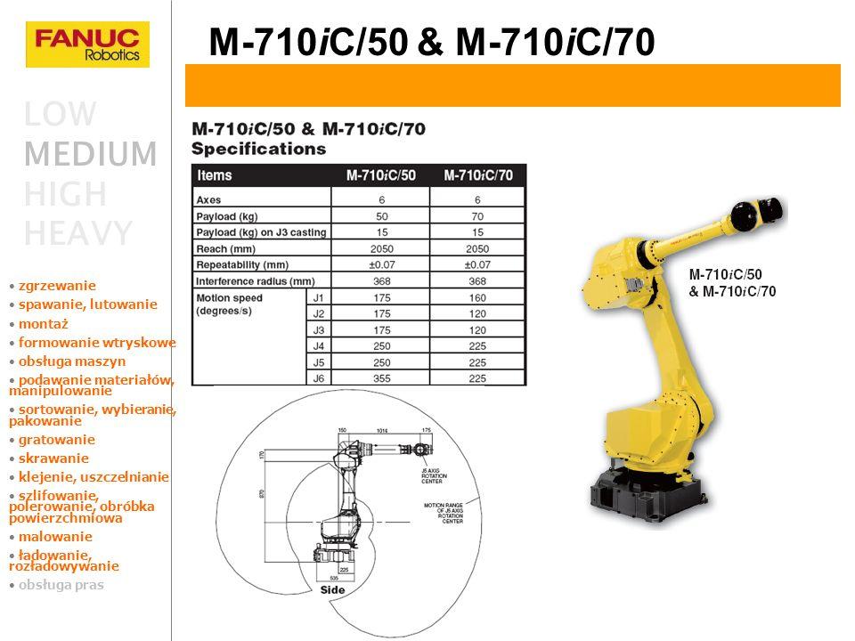 M-710iC/50 & M-710iC/70 LOW MEDIUM HIGH HEAVY zgrzewanie spawanie, lutowanie montaż formowanie wtryskowe obsługa maszyn podawanie materiałów, manipulo