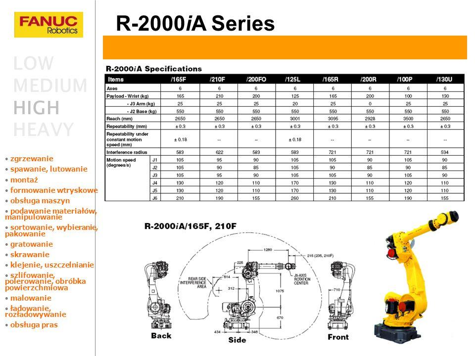 R-2000iA Series LOW MEDIUM HIGH HEAVY zgrzewanie spawanie, lutowanie montaż formowanie wtryskowe obsługa maszyn podawanie materiałów, manipulowanie so