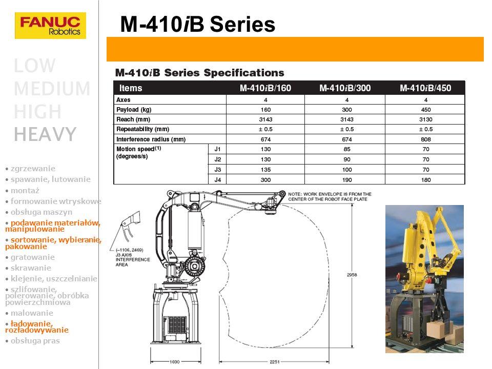 M-410iB Series LOW MEDIUM HIGH HEAVY zgrzewanie spawanie, lutowanie montaż formowanie wtryskowe obsługa maszyn podawanie materiałów, manipulowanie sor