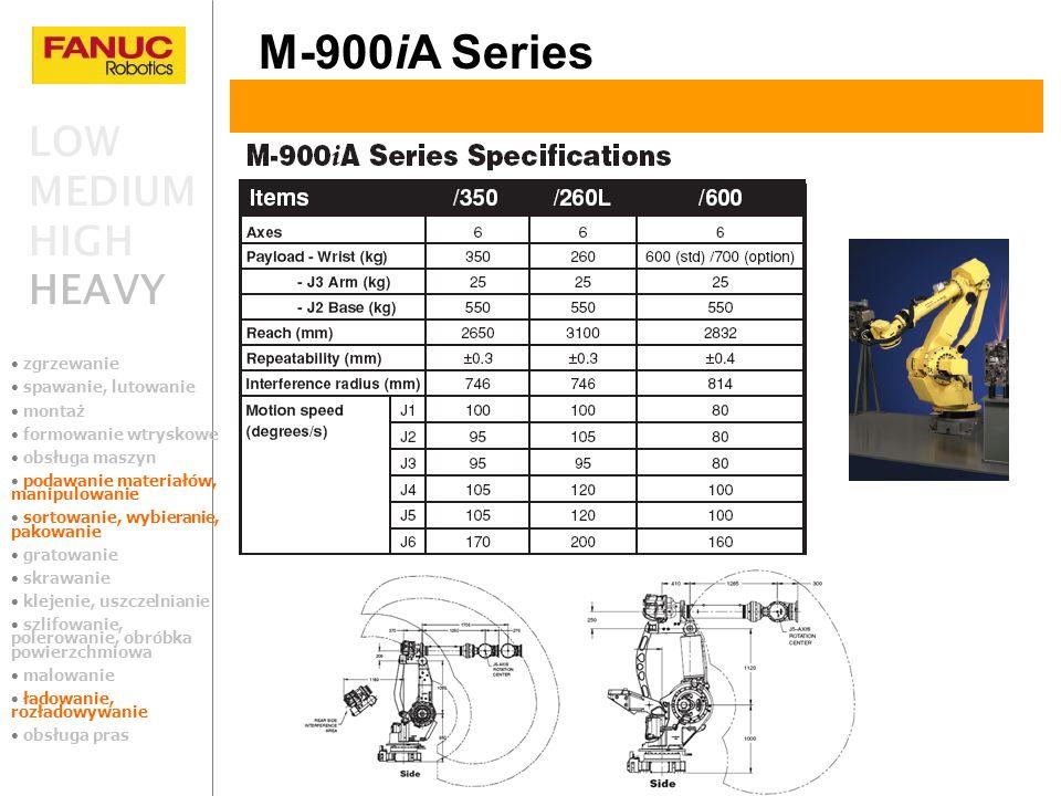 M-900iA Series LOW MEDIUM HIGH HEAVY zgrzewanie spawanie, lutowanie montaż formowanie wtryskowe obsługa maszyn podawanie materiałów, manipulowanie sor