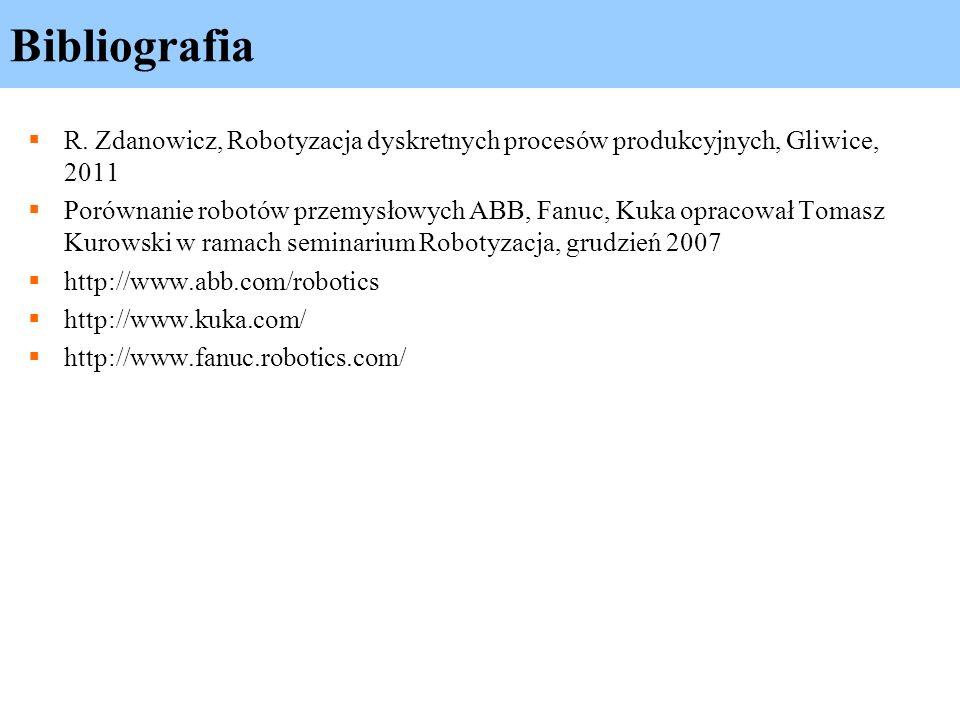 Bibliografia R. Zdanowicz, Robotyzacja dyskretnych procesów produkcyjnych, Gliwice, 2011 Porównanie robotów przemysłowych ABB, Fanuc, Kuka opracował T