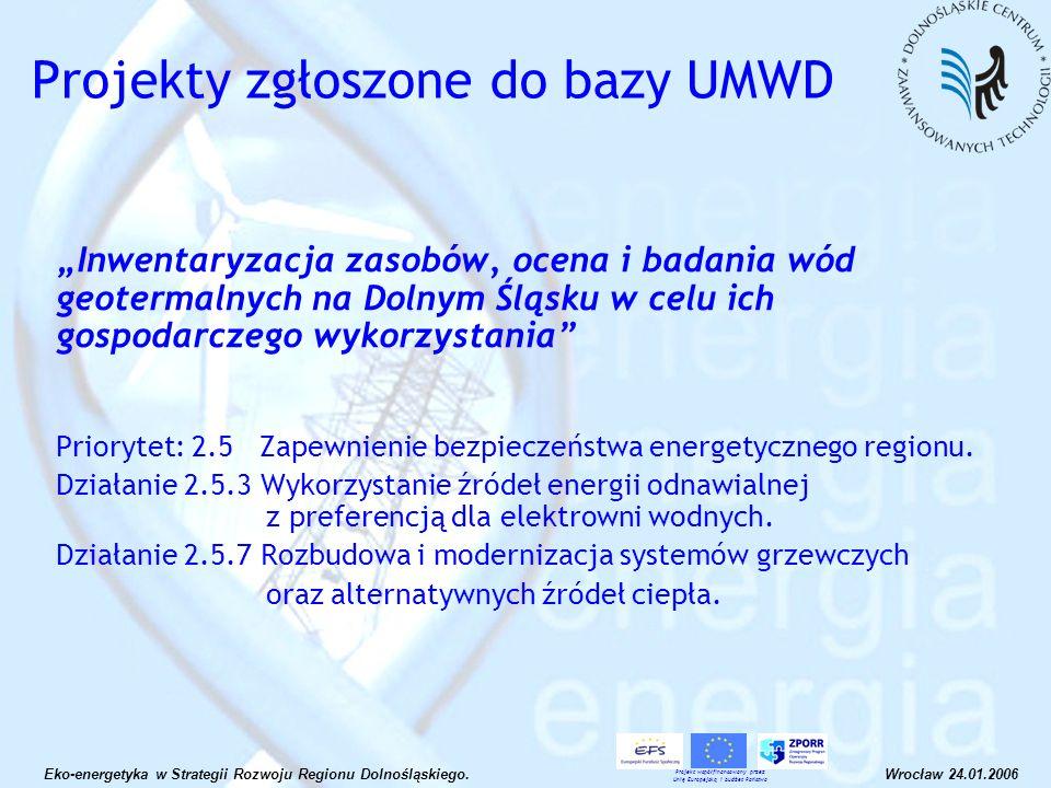 Inwentaryzacja zasobów, ocena i badania wód geotermalnych na Dolnym Śląsku w celu ich gospodarczego wykorzystania Priorytet: 2.5 Zapewnienie bezpiecze