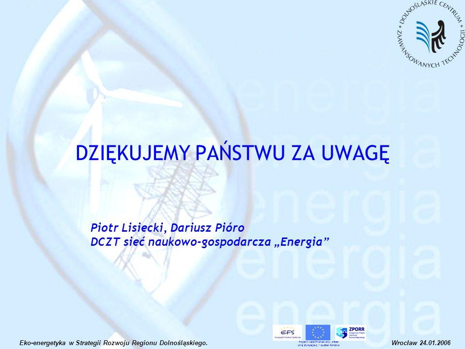 DZIĘKUJEMY PAŃSTWU ZA UWAGĘ Eko-energetyka w Strategii Rozwoju Regionu Dolnośląskiego.Wrocław 24.01.2006 Projekt współfinansowany przez Unię Europejsk