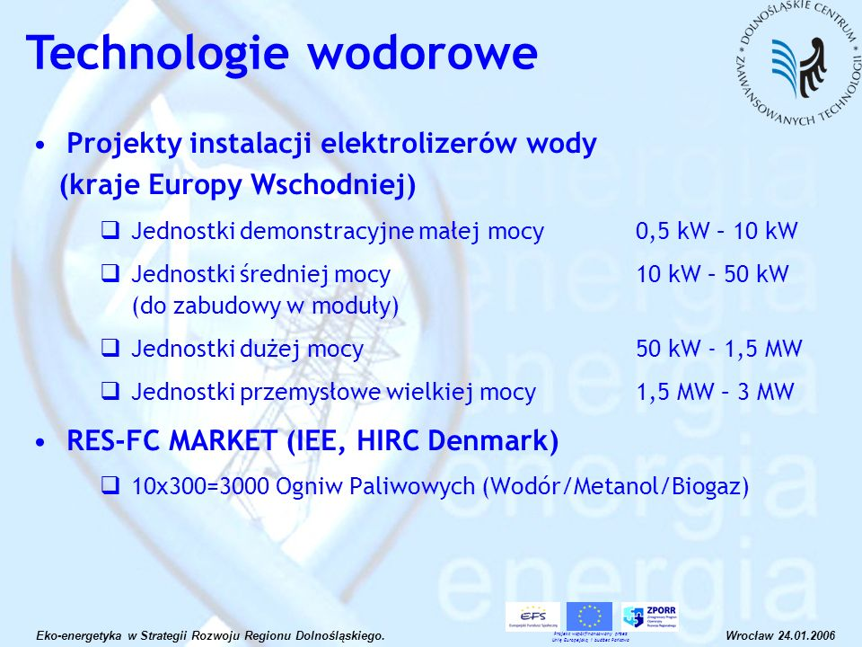 Projekty instalacji elektrolizerów wody (kraje Europy Wschodniej) Jednostki demonstracyjne małej mocy 0,5 kW – 10 kW Jednostki średniej mocy 10 kW – 5