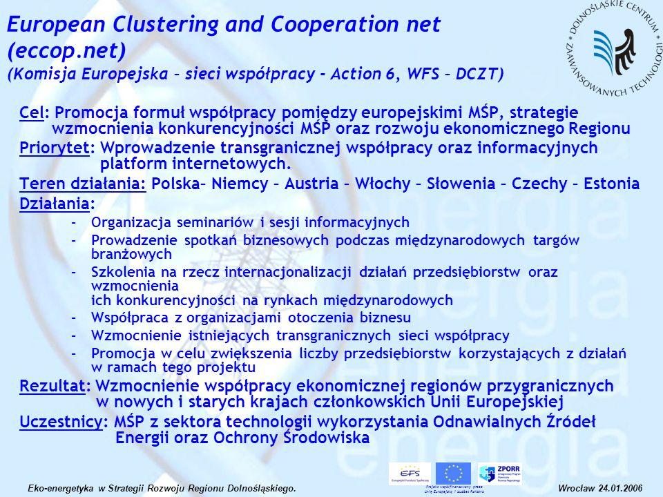 European Clustering and Cooperation net (eccop.net) (Komisja Europejska – sieci współpracy - Action 6, WFS – DCZT) Cel: Promocja formuł współpracy pom