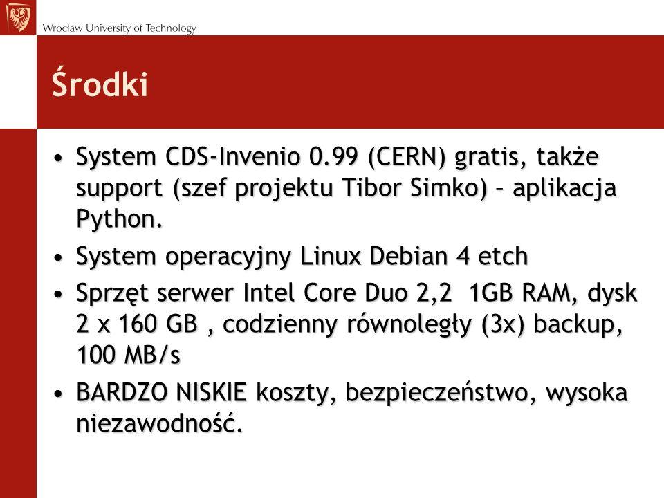 Środki System CDS-Invenio 0.99 (CERN) gratis, także support (szef projektu Tibor Simko) – aplikacja Python.System CDS-Invenio 0.99 (CERN) gratis, takż