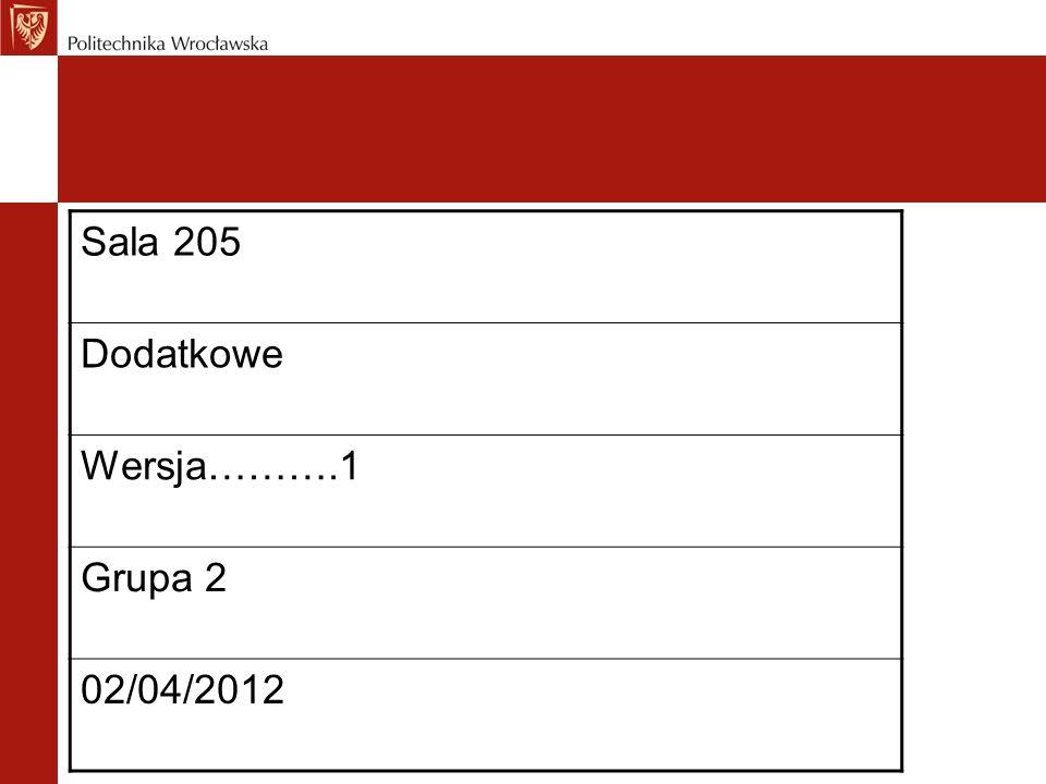 Sala 205 Dodatkowe Wersja……….1 Grupa 2 02/04/2012