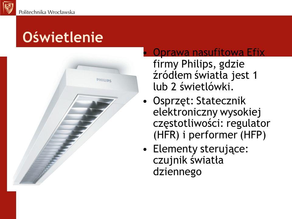 Oświetlenie Oprawa nasufitowa Efix firmy Philips, gdzie źródłem światła jest 1 lub 2 świetlówki.