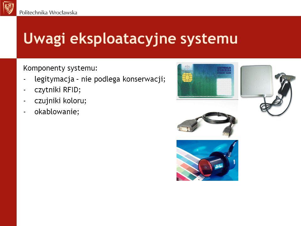 Uwagi eksploatacyjne systemu Komponenty systemu: - legitymacja – nie podlega konserwacji; -czytniki RFID; -czujniki koloru; -okablowanie;