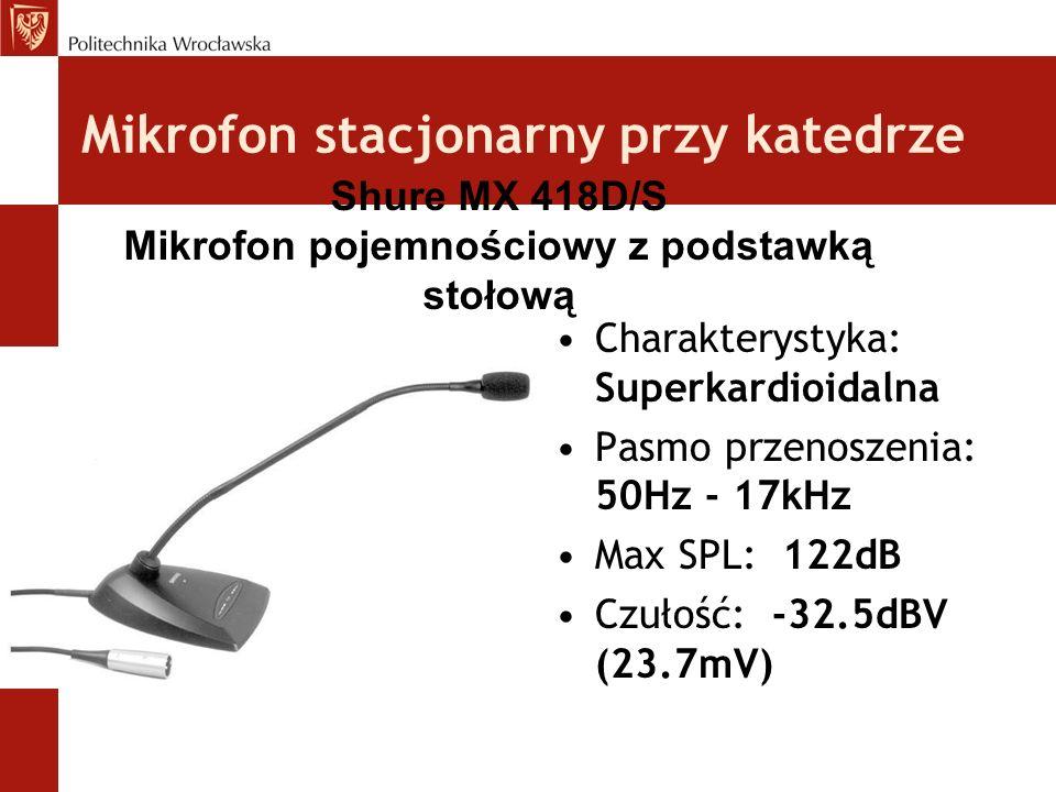 Mikrofon stacjonarny przy katedrze Charakterystyka: Superkardioidalna Pasmo przenoszenia: 50Hz - 17kHz Max SPL: 122dB Czułość: -32.5dBV (23.7mV) Shure MX 418D/S Mikrofon pojemnościowy z podstawką stołową