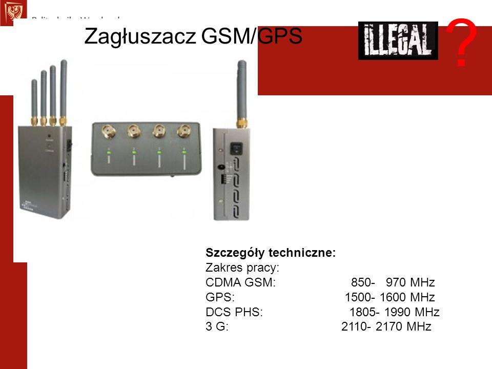 Zagłuszacz GSM/GPS Szczegóły techniczne: Zakres pracy: CDMA GSM: 850- 970 MHz GPS: 1500- 1600 MHz DCS PHS: 1805- 1990 MHz 3 G: 2110- 2170 MHz