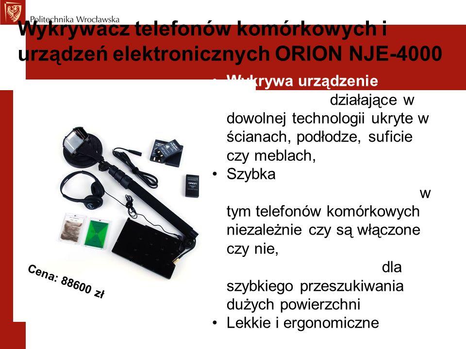 Wykrywacz telefonów komórkowych i urządzeń elektronicznych ORION NJE-4000 Wykrywa urządzenie podsłuchowe działające w dowolnej technologii ukryte w ścianach, podłodze, suficie czy meblach, Szybka detekcja i lokalizacja urządzeń elektronicznych w tym telefonów komórkowych niezależnie czy są włączone czy nie, Duża moc transmisji dla szybkiego przeszukiwania dużych powierzchni Lekkie i ergonomiczne Cena: 88600 zł