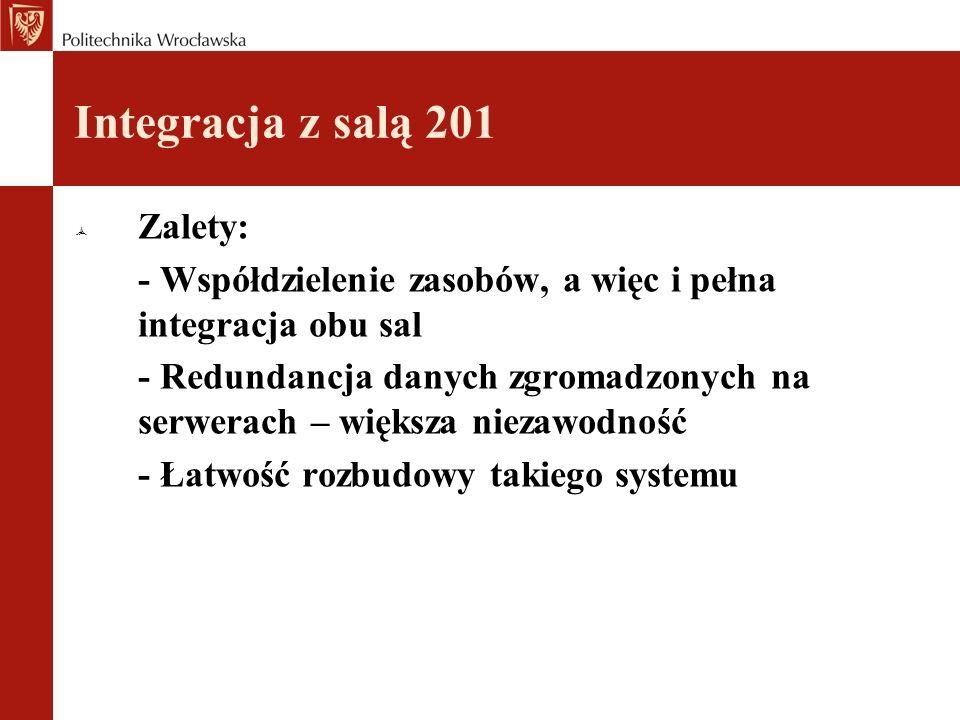 Integracja z salą 201 Zalety: - Współdzielenie zasobów, a więc i pełna integracja obu sal - Redundancja danych zgromadzonych na serwerach – większa niezawodność - Łatwość rozbudowy takiego systemu